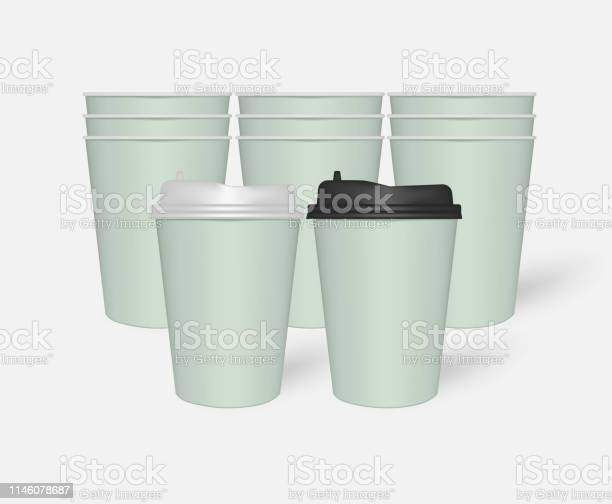 Disposable Mint Green Paper To Go Coffee Cups With Plastic Lids Mockup Stock Illustration Download Image Now Istock
