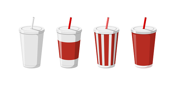 Disposable paper beverage cup templates set for soda with drinking straw. 3d blank white big red striped cardboard soft drinks packaging collection vector illustation