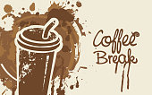 Vector banner on coffee theme with calligraphic inscription Coffee Break in grunge style. A disposable paper coffee cup on the background of coffee stains and splashes