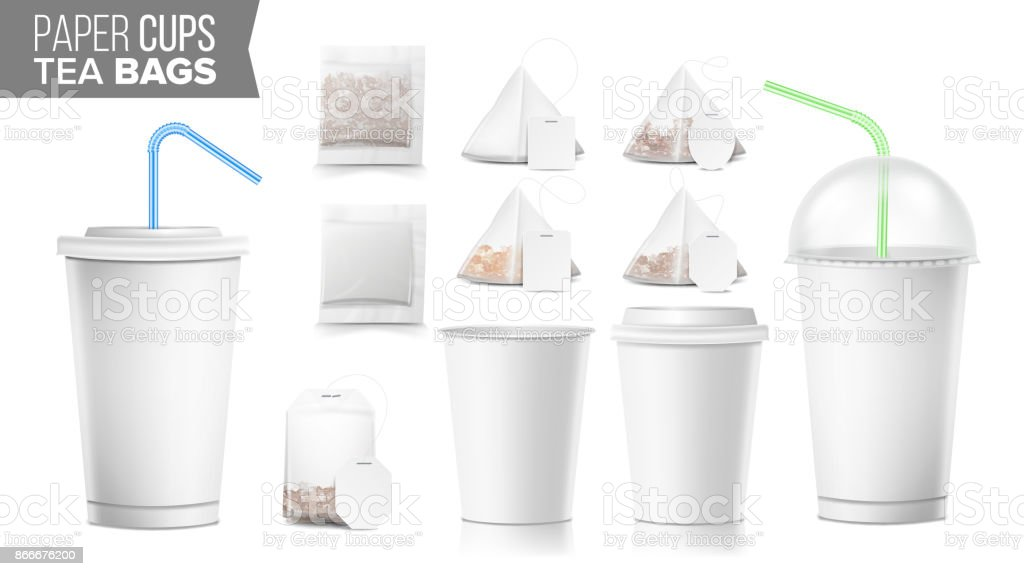 disposable paper cups and tea bags set vector plastic covers takeout