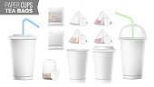 Disposable Paper Cups And Tea Bags Set Vector. Plastic Covers. Take-out Soft Drinks Cup Template. Open And Closed Paper Cup Blank. Realistic Isolated Vector Illustration