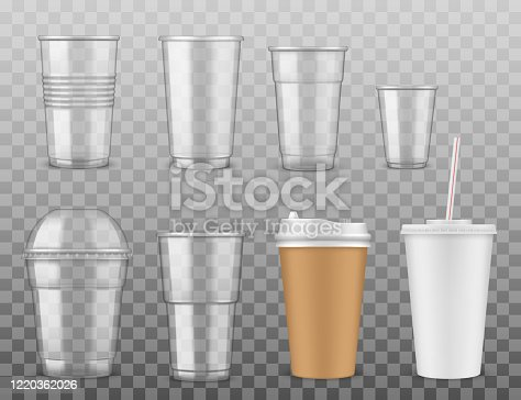 Disposable paper or plastic cups isolated icons