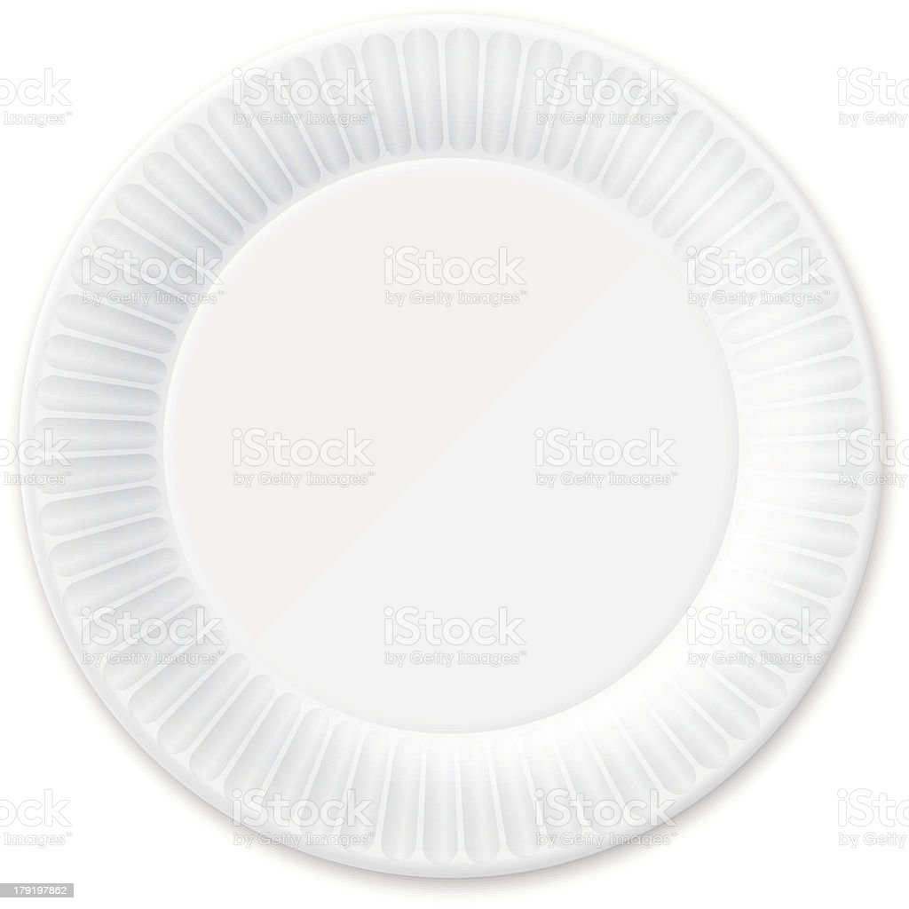 Disposable Paper Plate. Isolated on White. vector art illustration
