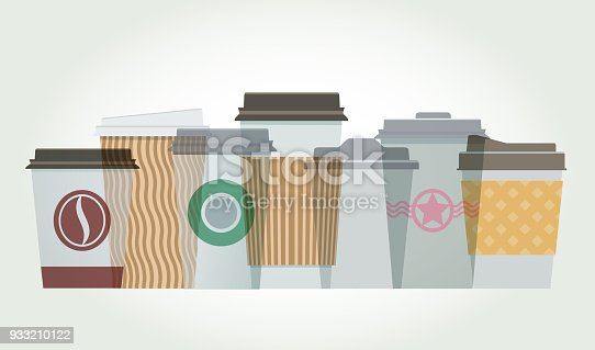 Colourful overlapping silhouettes of coffee cups.