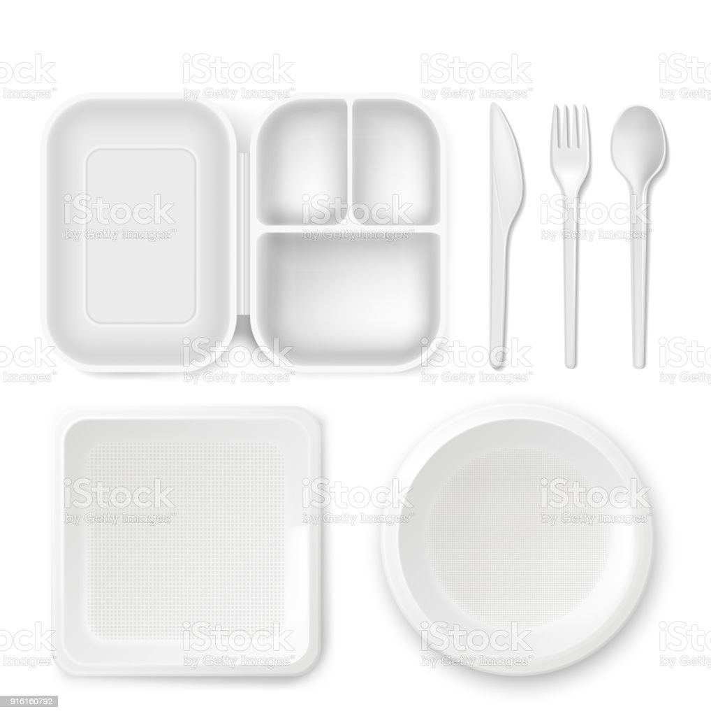 Disposable plastic dishware vector illustration of 3D realistic lunchbox plate and cutlery spoon, knife or fork isolated icons vector art illustration