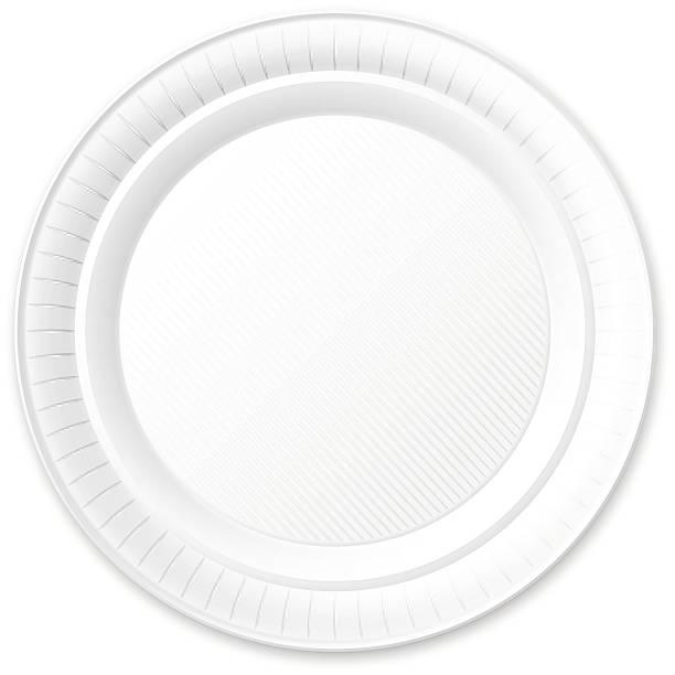 einweg-kunststoff-platte. isoliert auf weiß. - plastikteller stock-grafiken, -clipart, -cartoons und -symbole