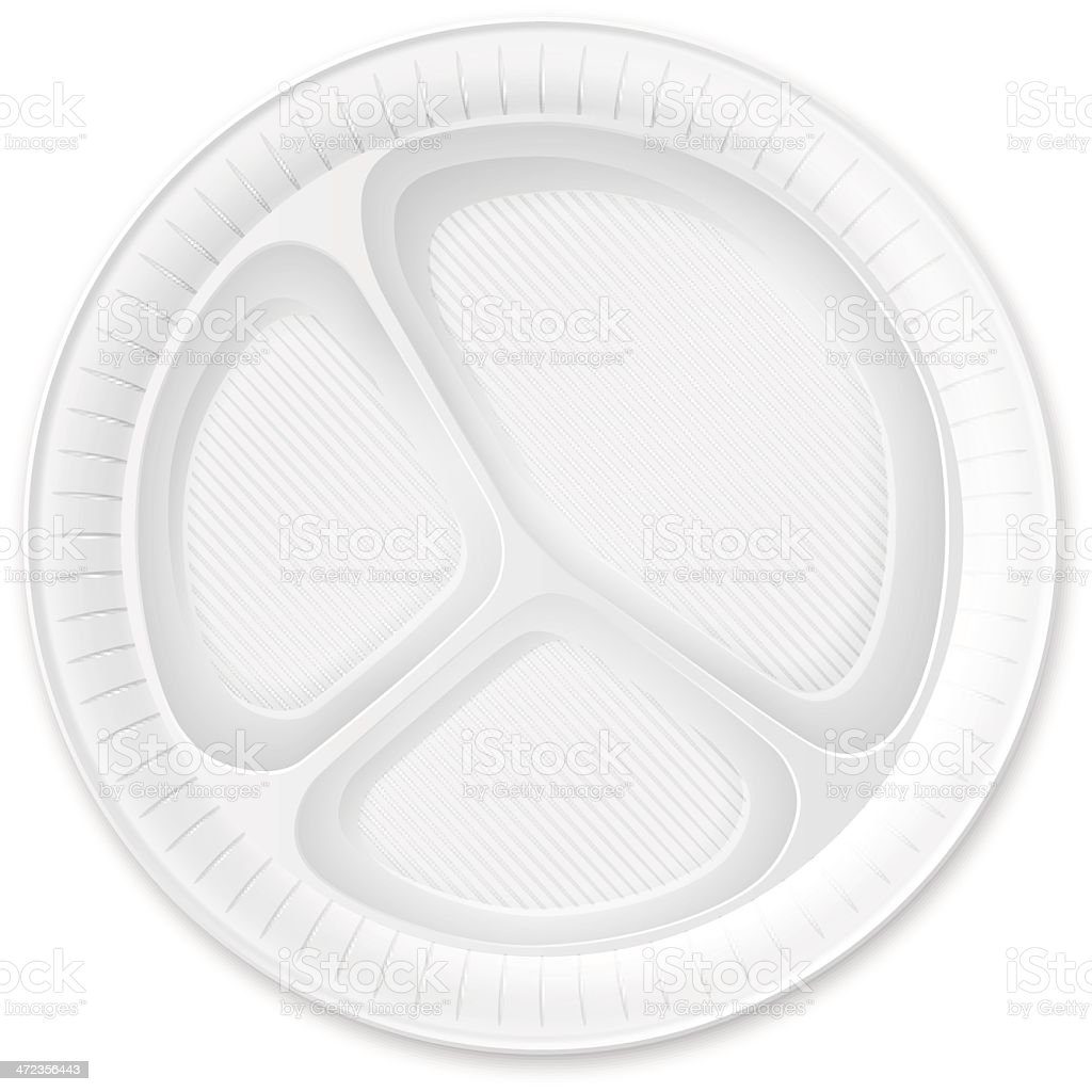 Disposable Plastic Plate. Isolated on White. vector art illustration