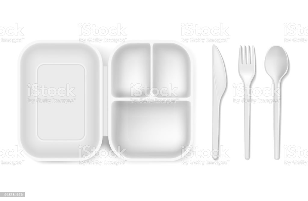 Disposable plastic vector illustration of lunch box and cutlery spoon, knife or fork isolated 3D realistic isolated icons vector art illustration