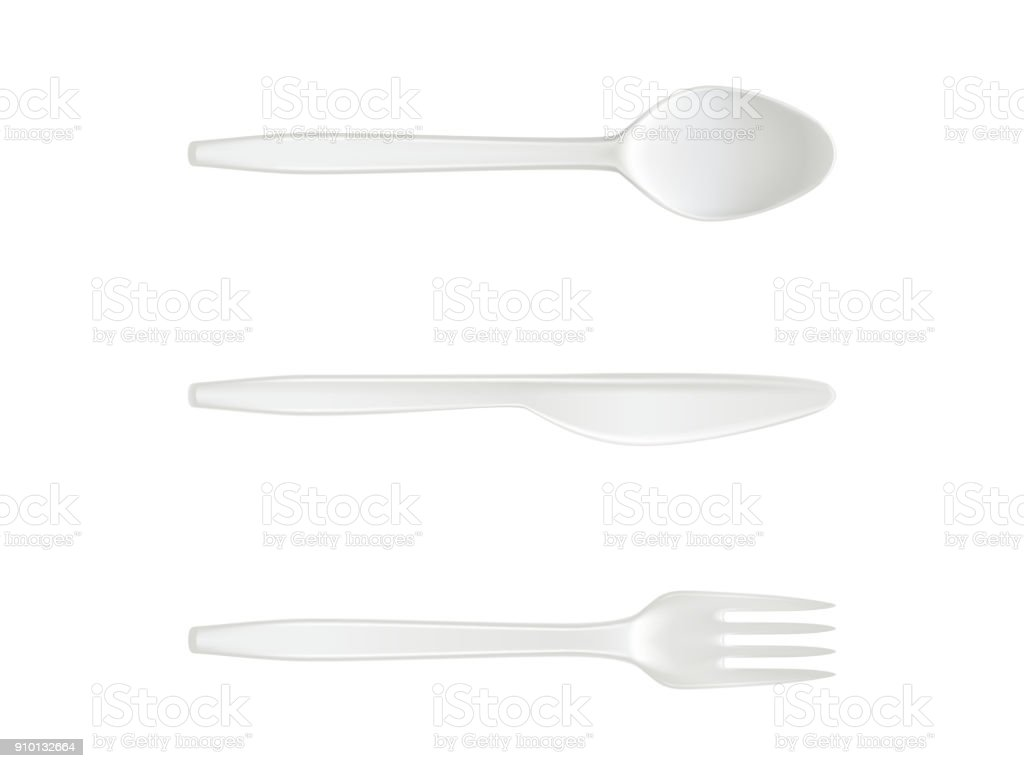 Disposable plastic vector spoon, knife and fork isolated cutlery realistic isolated icons vector art illustration