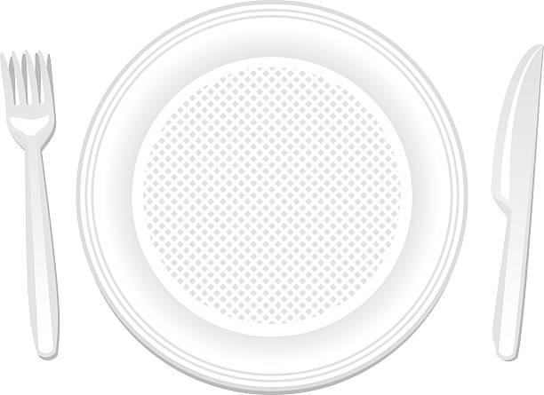 wegwerfprodukt teller, messer und gabel - plastikteller stock-grafiken, -clipart, -cartoons und -symbole