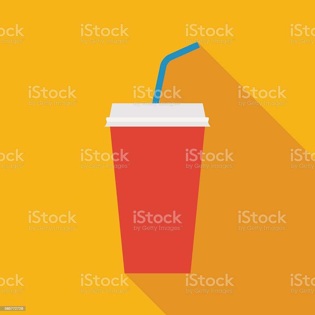 disposable soda cup icon with long shadow. flat style illustration - illustrazione arte vettoriale