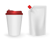 Disposable takeaway drink cup and spouted pouch with screw cap isolated on white background, realistic vector template.