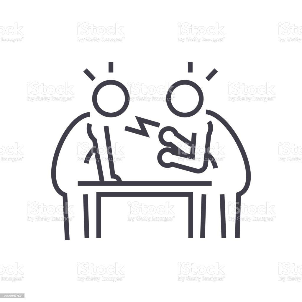 dispute,debate,conversation vector line icon, sign, illustration on background, editable strokes vector art illustration