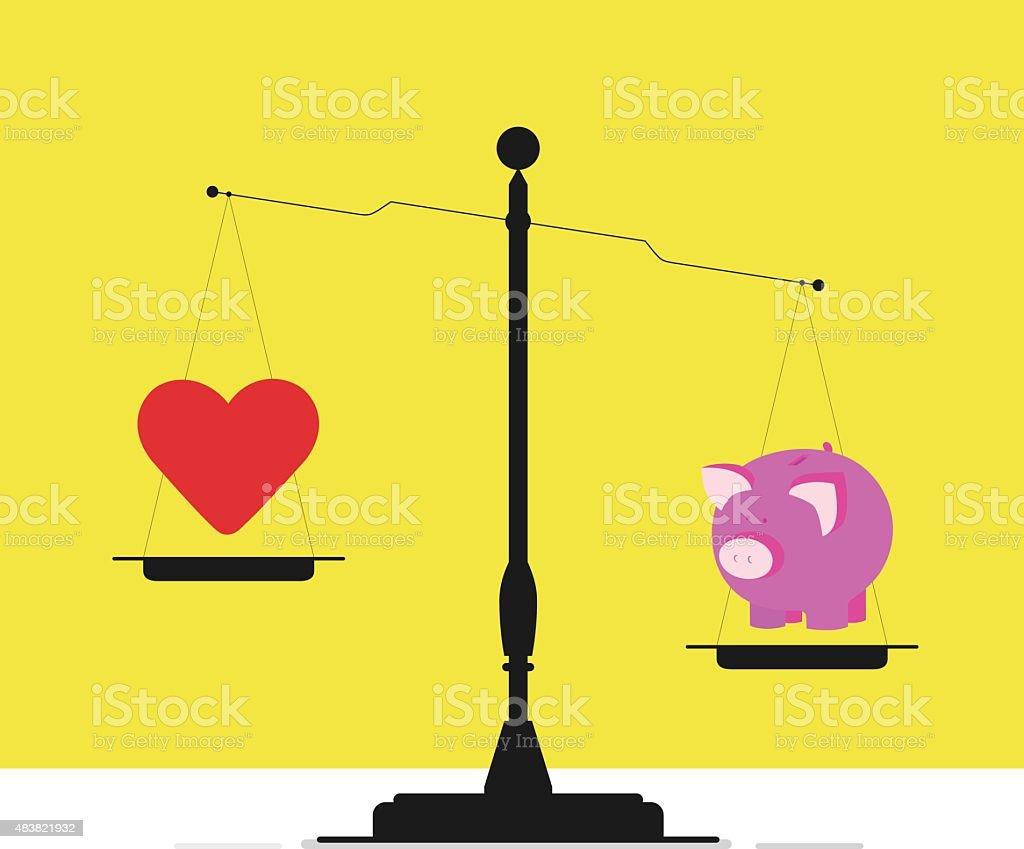 Disregard conscience for money vector art illustration
