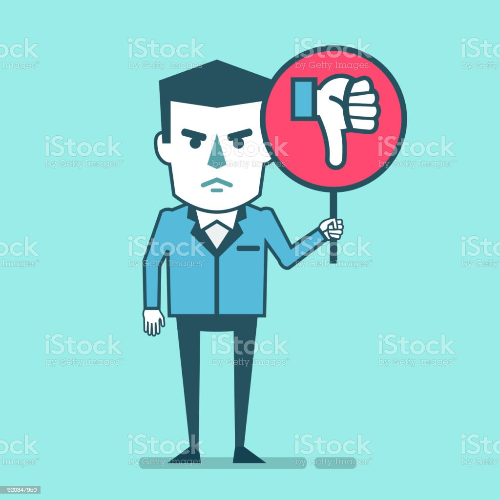 Dissatisfied businessman holds sign with thumb down icon vector art illustration