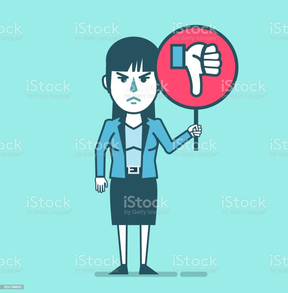 Dissatisfied businesswoman holds sign with thumb down icon vector art illustration