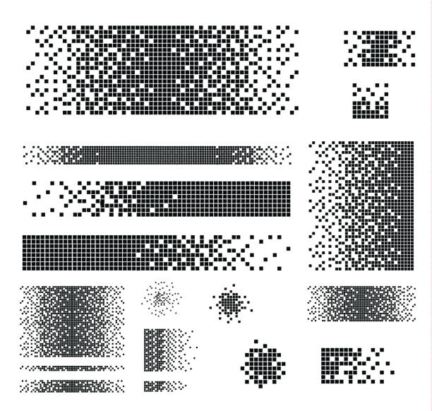 Dissolved filled square Dissolved filled square dotted vector icon with disintegration effect. Vector rectangle elements are grouped. Isolated on white background. pixelated stock illustrations