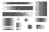 Dissolved filled square dotted vector icon with disintegration effect. Vector rectangle elements are grouped. Isolated on white background.