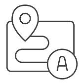 Distance between points with location marker thin line icon, Navigation concept, Route with markers sign on white background, Pathway between pin pointers icon in outline style. Vector graphics
