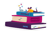 Distance Courses, Online Education Concept. Tiny Woman Character Studying Lying on Huge Books Heap Using Laptop for Watching or Reading Lessons. Student Prepare for Exam. Cartoon Vector Illustration