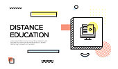 Distance Education Concept. Geometric Retro Style Banner and Poster Concept with Distance Education icon