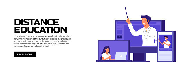 Distance Education Concept Vector Illustration for Website Banner, Advertisement and Marketing Material, Online Advertising, Business Presentation etc.