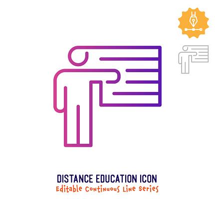 Distance Education Continuous Line Editable Icon