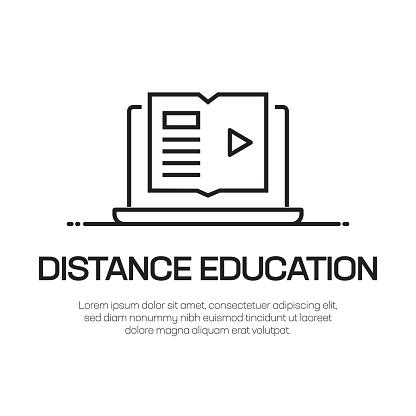 Distance Education Vector Line Icon - Simple Thin Line Icon, Premium Quality Design Element