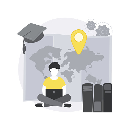 Distance learning abstract concept vector illustration.