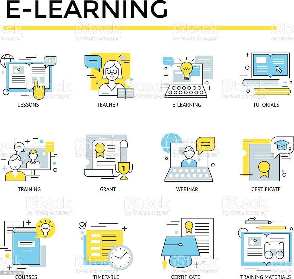 Distance learning concept icons. distance learning concept icons – cliparts vectoriels et plus d'images de affaires libre de droits