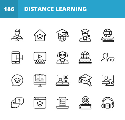 Distance Learning, Homeschooling Line Icons. Editable Stroke. Pixel Perfect. For Mobile and Web. Contains such icons as Book, Student, E-Learning, University, Graduation, Teaching, Online Course, Video Conference, Mobile App, Exam, Video Tutorial.