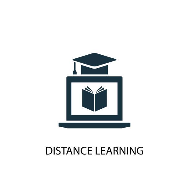 illustrazioni stock, clip art, cartoni animati e icone di tendenza di distance learning icon. simple element illustration - didattica a distanza
