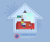 Distance learning online education classes for children during coronavirus. Social distancing, self-isolation and stay at home concept. Character vector design.