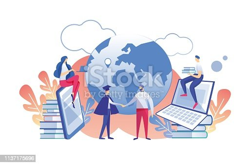 Distance Learning Profession with Diploma Flat. Vector Illustration White Background. Teacher Welcomes Graduate Students on Background Planet. Girl is Sitting Books and Guy Laptop.