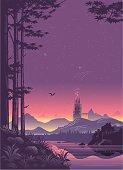 Distant City Landscape at Sunset