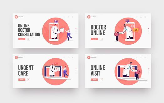 Distant Online Medicine, Medical Technologies Landing Page Template Set. Doctors Listen Heart Beating from Huge Gadget