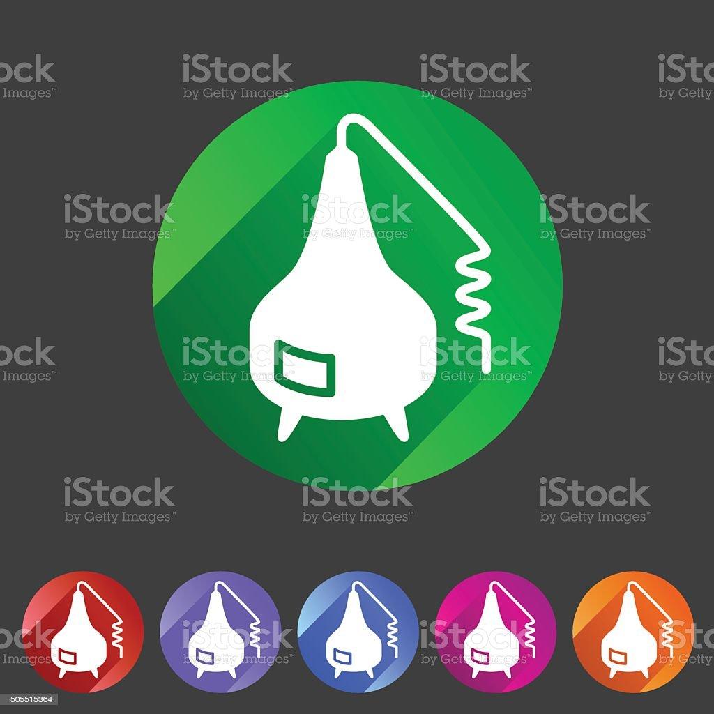 Distillation apparatus icon flat web sign symbol logo label vector art illustration