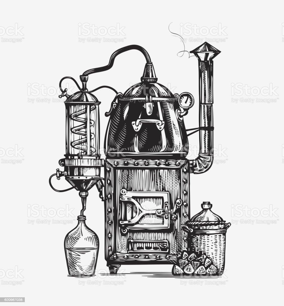 Distillation apparatus sketch. Hooch vector illustration vector art illustration