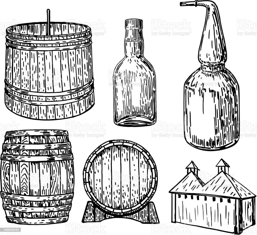 Ilustración de dibujado a mano de destilería vector set tinta - ilustración de arte vectorial