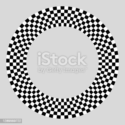 istock Distinct sectors on disk. Orbital discrete areas in concentric circles around copy space. On gray. 1289569722