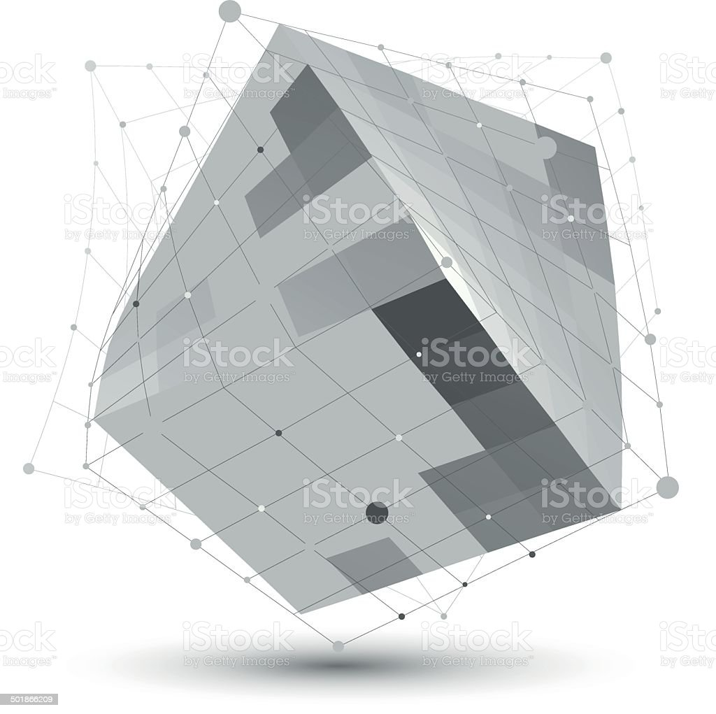 Distorted 3D abstract object with lines and dots royalty-free stock vector art