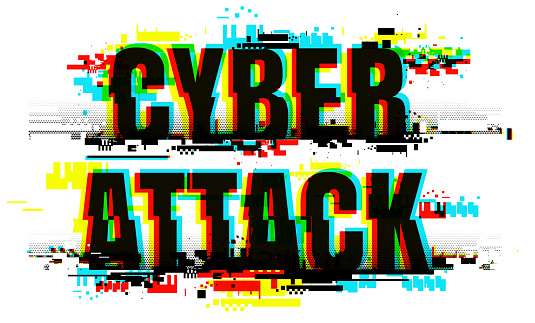Distorted letters of the Cyber Attack word