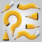 Distorted pencils set isolated on gray. Business and Education symbol and icons. Conceptual vector design