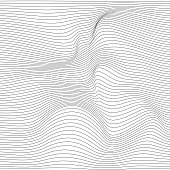 Distorted wave monochrome texture. Abstract dynamical rippled surface. Vector stripe  deformation background.