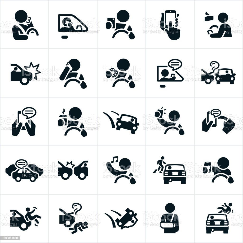 Distracted Driving Icons vector art illustration