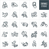 A set of distracted driving icons that include editable strokes or outlines using the EPS vector file. The icons include drivers talking on their mobile phones while driving, person viewing smartphone while driving, car accident, person eating while driving, person texting while driving, person drinking coffee while driving, person taking a selfie while driving, person distracted by music while driving, distracted driver hitting pedestrian, drunk driver and other related icons.