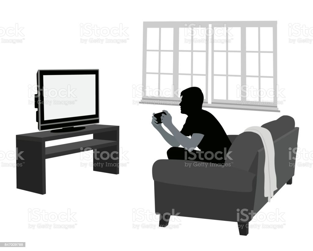 Distracted Living Room Gamer Stock Vector Art & More Images of ...