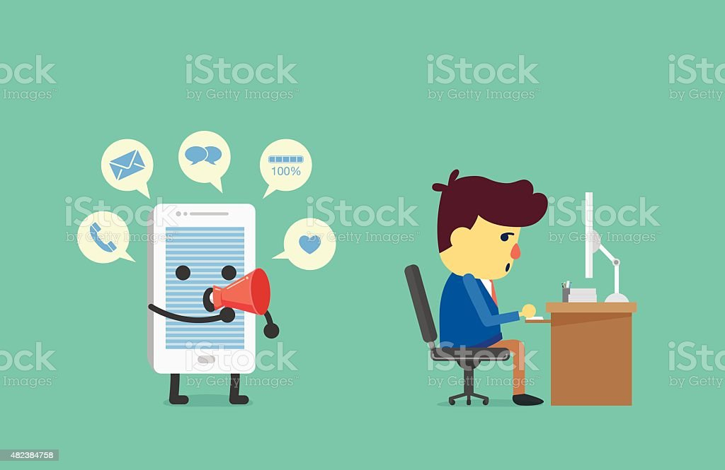 Distraction working from alert of smart phone vector art illustration