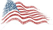 Distressed grungy American flag vector illustration