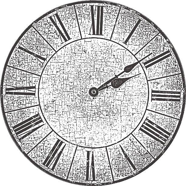 Distressed Antique Clock Face vector art illustration